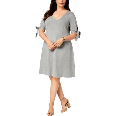525 America Womens Plus Sweaterdress Ribbed V-Neck - Heather Grey - 1X