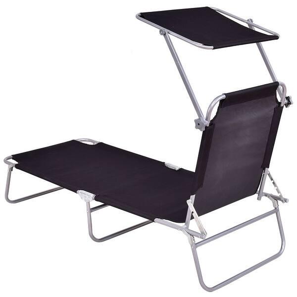 Terrific Shop Costway Foldable Sun Lounge Bed Chair Beach Recliner Inzonedesignstudio Interior Chair Design Inzonedesignstudiocom