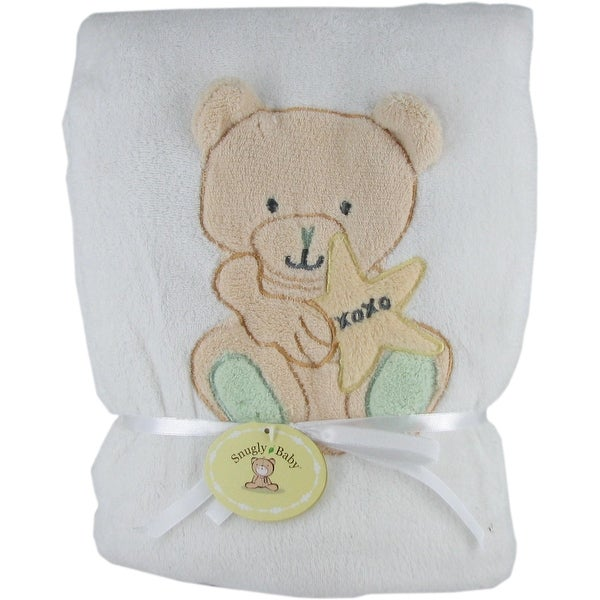 Snugly Baby White Fleece Baby Blanket w/ Teddy Bear