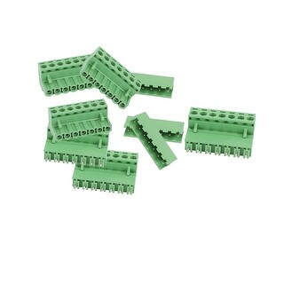 6 Pairs Green 7P 5.08mm Spacing PCB Screw Terminal Block Connector 300V 10A