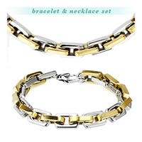 Stainless Steel Duo Tone Gold Plated Square Chain Link Bracelet & Necklace Combo Set (9.5 mm)