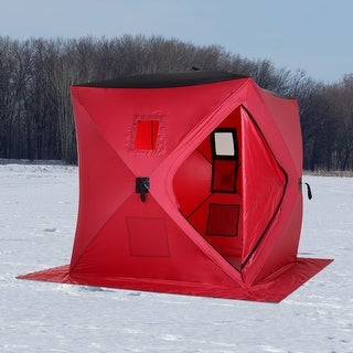 Link to Outsunny 2 Person Pop Up Clam Ice Fishing Tent Portable Insulated Shelter Similar Items in As Is