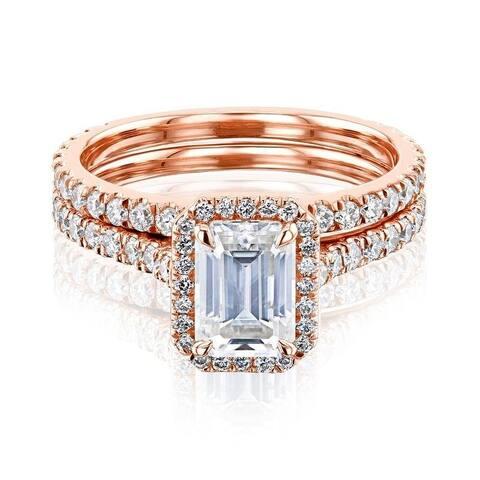 Annello by Kobelli 14k Gold Emerald Cut Moissanite Halo Bridal Set (GH/VS, DEF/VS)
