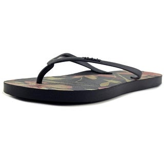 Tidal Orange Floral Men  Open Toe Synthetic Black Thong Sandal
