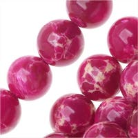 Impression Jasper Gemstone Beads, Round 8mm, 15 Inch Strand, Magenta Pink