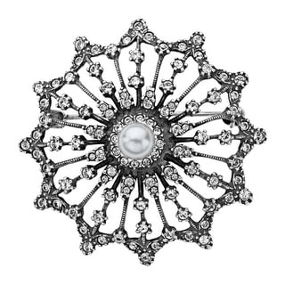 Van Kempen Victorian Simulated Pearl Brooch with Swarovski Crystals in Sterling Silver