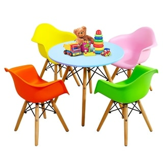 Gymax 5 PC Kids Modern Colorful Round Table Chair Set with 4 Arm Chairs - blue, green, pink, yellow, orange