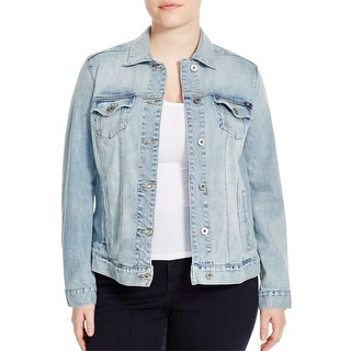 Lucky Brand Womens Plus Denim Jacket Outerwear Long Sleeves