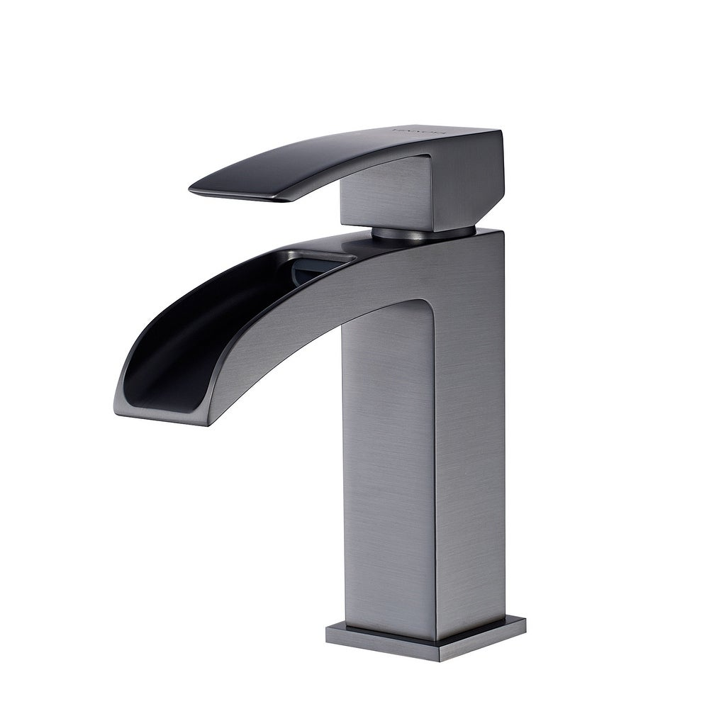 Details about  /Black Bathroom Faucets Tall Deck Mounted Waterfall Mixer Single Hole/&Handle Taps