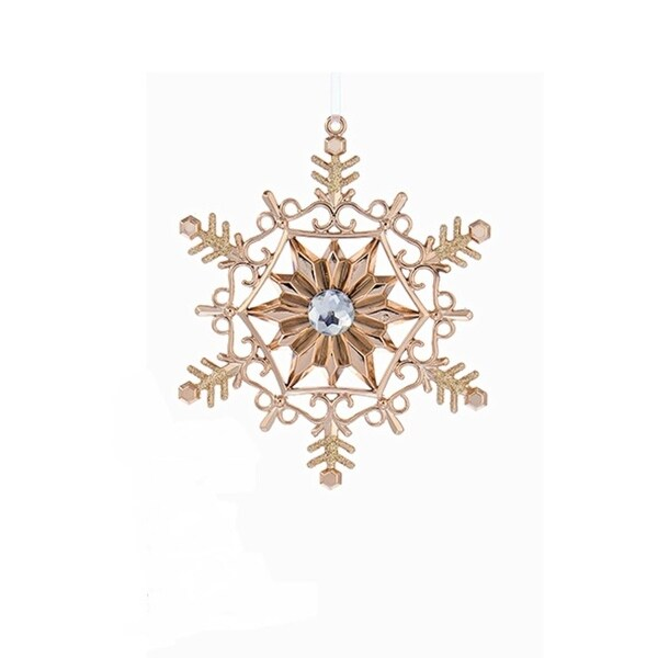 """5"""" Rose Gold Snowflake with Clear Gem Christmas Ornament - PInk"""