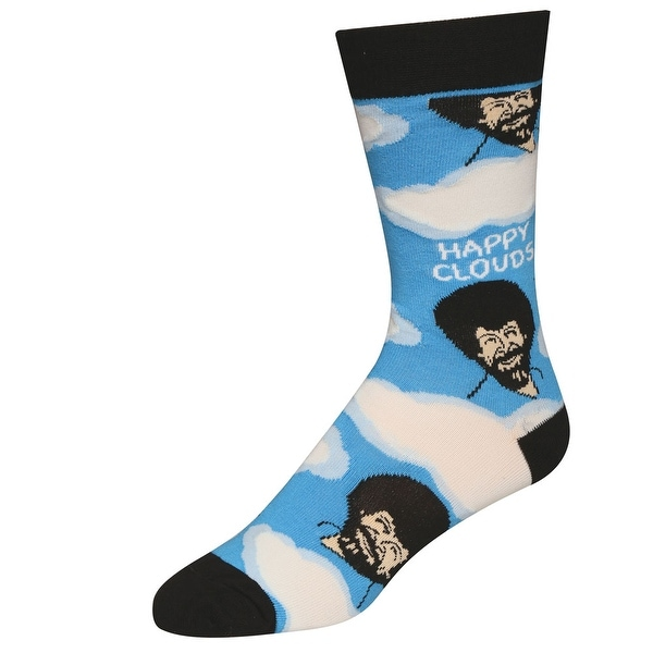 Men's Bob Ross Socks - Iconic Host of The Joy of Painting - Happy Clouds - One Size
