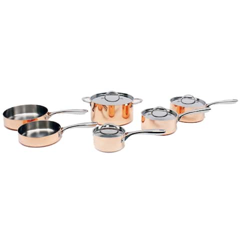 Copper 10pc Tri-Ply Cookware Set, Polished (Non Hammered)
