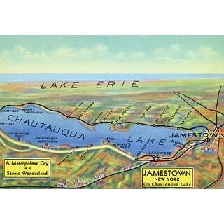Chautauqua Lk NY Surrounding Towns 1943 Aerial Map (Art Print - Multiple Sizes)
