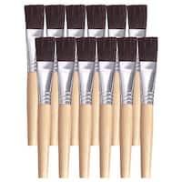 School Smart Black Bristle Short Handle Paint Brush, 3/4 Inch, Pack of 12