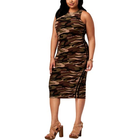 Planet Gold Womens Plus Bodycon Dress Striped Camouflage