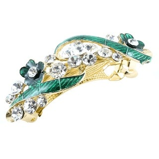 Woman New Gold Tone Matel Flower Designed Rhinestone Hairpin Green
