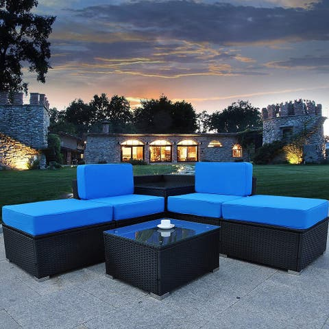 Mcombo Patio Furniture Sectional Set Outdoor Wicker Sofa 6082-5PC-A2