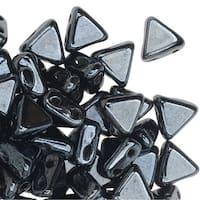 Czech Glass Kheops par Puca, 2-Hole Triangle Beads 6mm, 9 Grams, Jet Hematite