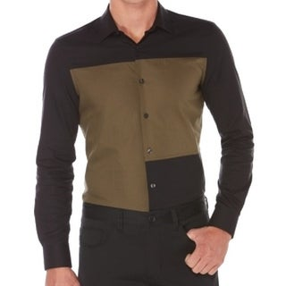 Perry Ellis NEW Black Mens Size XL Button Down Slim Colorblock Shirt