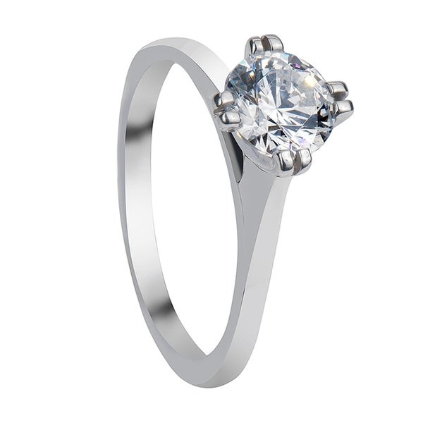 IVORY Split Four Prong Solitaire White Sapphire Platinum Engagement Ring with Polished Finish. Opens flyout.