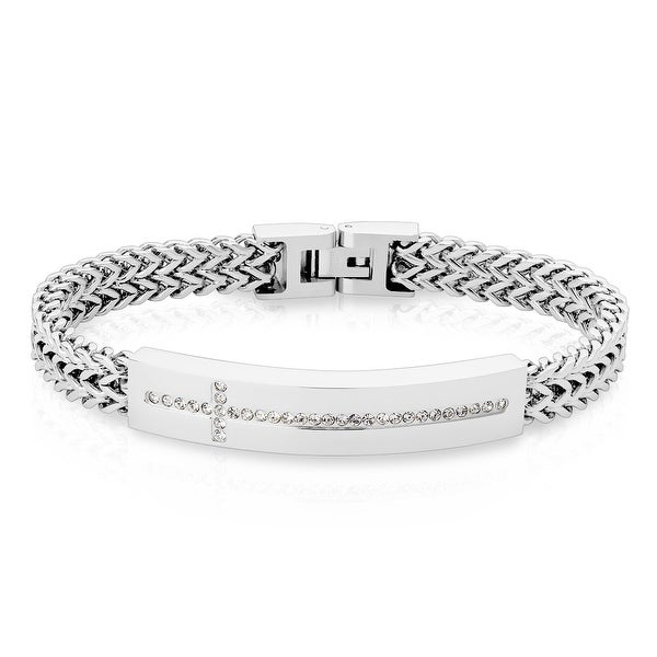 """Lined CZ Cross on Plate Square Italian Curb Chain Bracelet - 8.5"""" (Sold Ind.)"""
