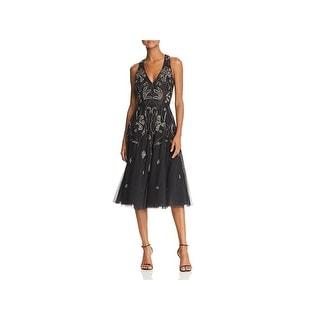 Aidan Mattox Womens Midi Dress Beaded Cocktail
