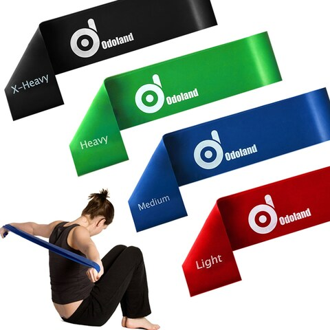 Stretch Exercise Resistance Loop Bands Set of 4 Light Medium Heavy X-heavy for Strength