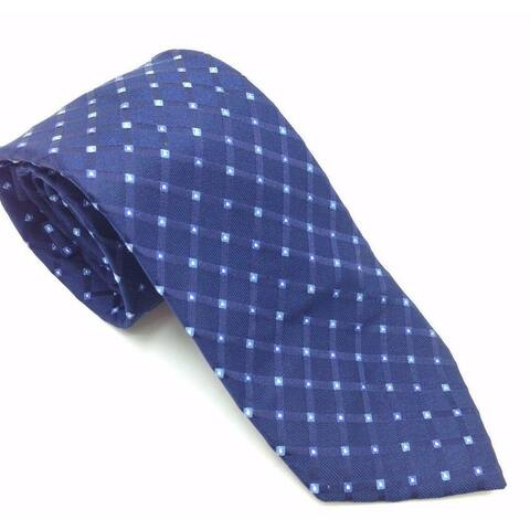 Club Room Men's Navy Blue Grid PLaid Neat Classic Slim Neck Tie Silk