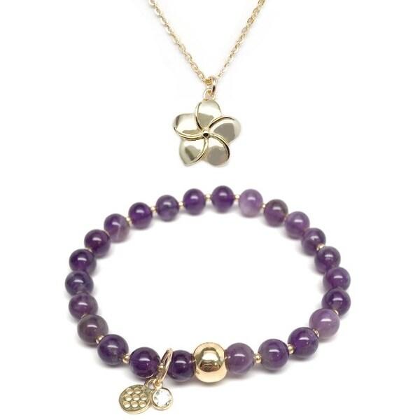 "Purple Amethyst 7"" Bracelet & Flower Gold Charm Necklace Set"