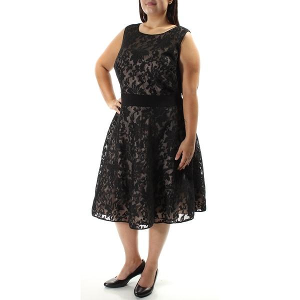 XSCAPE Womens Black Lace Zippered Sleeveless Jewel Neck Below The Knee Sheath Formal Dress Plus Size: 22W