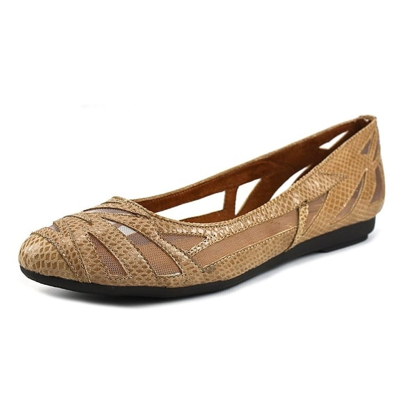 J. Renee Tabetha Women Round Toe Synthetic Tan Flats