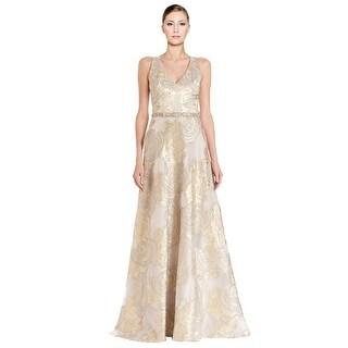Theia Metallic Beaded Belt Evening Ball Gown Dress