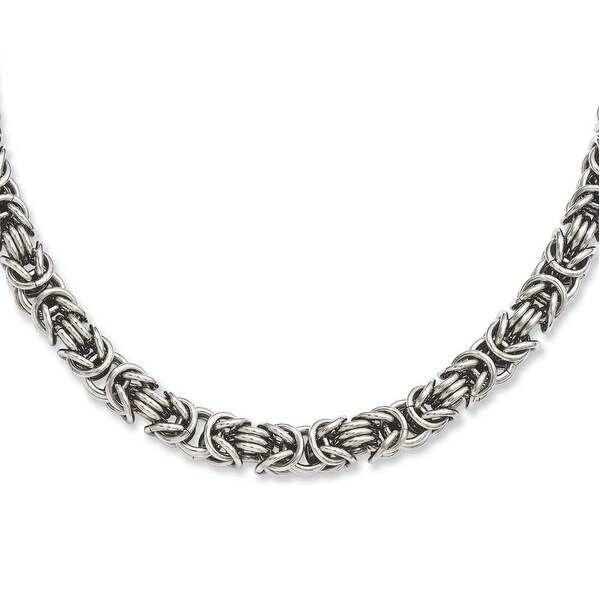 Stainless Steel Fancy Link 18in Necklace (7 mm) - 18 in