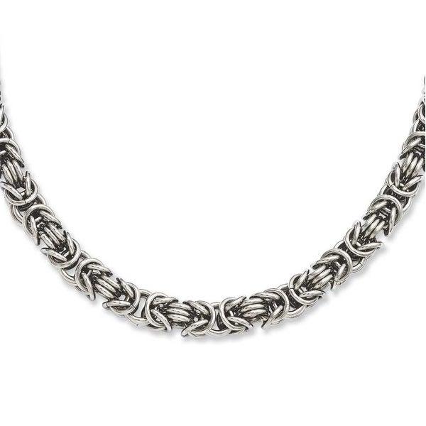 Stainless Steel Fancy Link 18in Necklace (7 mm) - 18 in