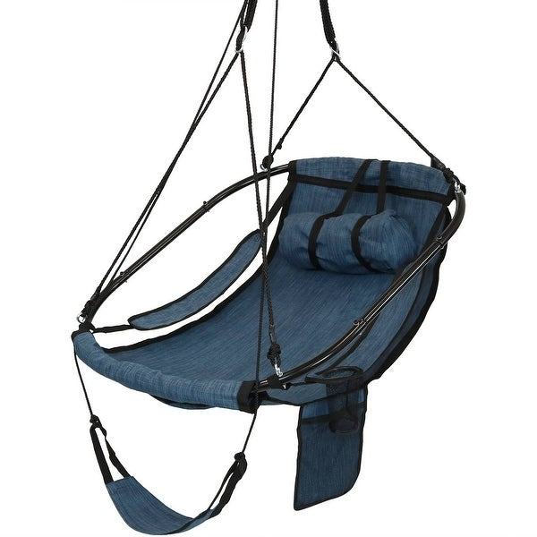 Hanging Hammock Camping Chair Swing - Drink Holder and Footrest - Blue