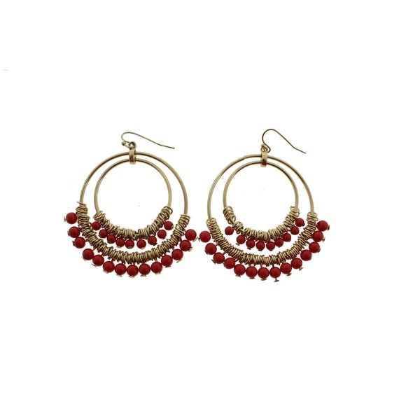 Kenneth Jay Lane Womens Dangle Earring Double Hoop Fashion - Gold/Red
