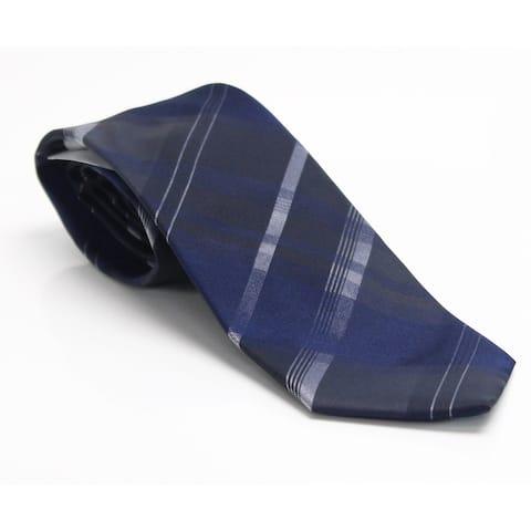 Kenneth Cole Reaction Men's Navy Blue Layer Grid Plaid Neck Tie Silk