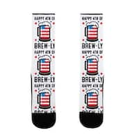 LookHUMAN Happy 4th of Brew-ly US Size 7-13 Socks