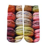 Macaroon Cookies Photo Print Ankle Socks - Red