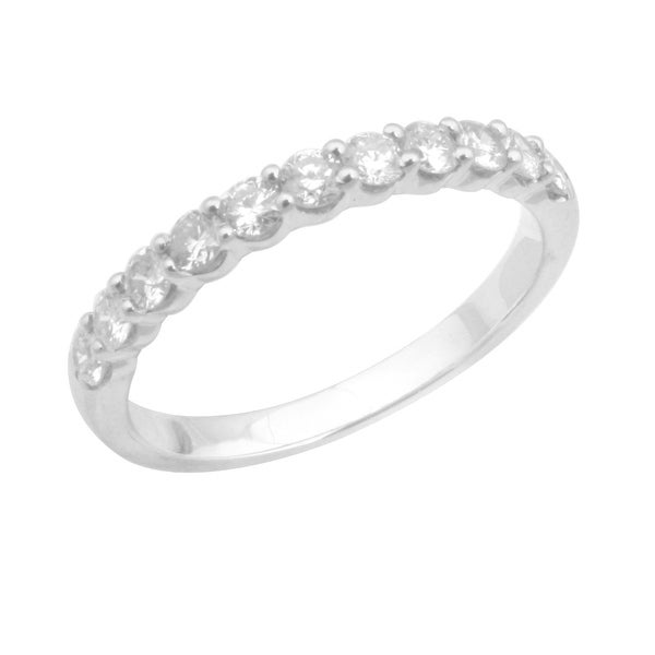 0.50 Carat Round Brilliant Cut Real Diamond Half Eternity Anniversary Ring