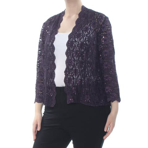 ALEX EVENINGS Womens Purple Sequined Lace Jacket Plus Size: 20W