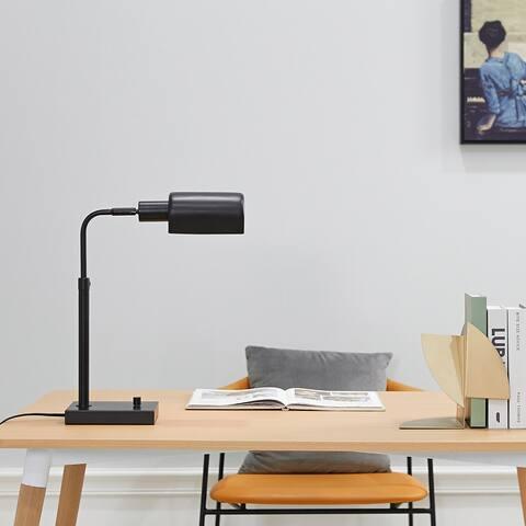 """Lucca 18"""" Matte Black Adjustable Height 2.1A USB Port Desk Lamp"""