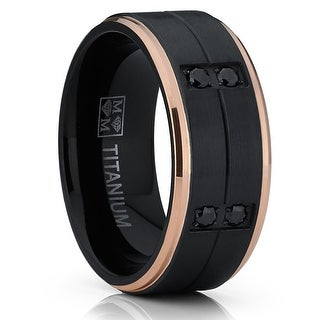 Link to Oliveti Black and RoseGold Titanium Wedding Band Comfort Fit Ring 8mm Similar Items in Men's Jewelry