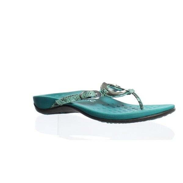 fe846d8fdd1e Shop Vionic Womens Karina Teal Snake Flip Flops Size 7 - Free ...