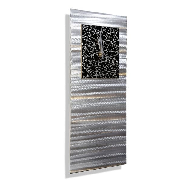 Statements2000 Silver Black Wall Clock Modern Abstract Art By Jon Allen Atomic Radiance 24 X 9 Overstock 30600686