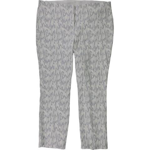 Alfani Womens Jaquard Ankle Casual Trouser Pants, Grey, 16