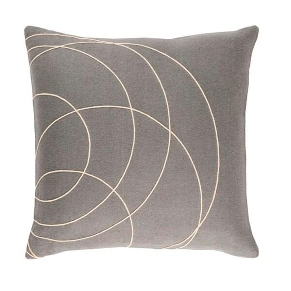 "18"" Moon Gray and Cream Woven Decorative Throw Pillow"