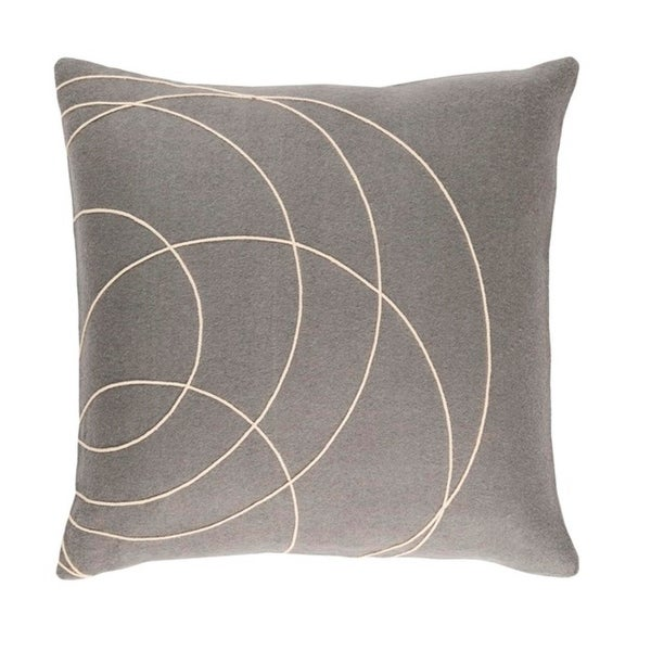 "20"" Moon Gray and Cream Woven Decorative Throw Pillow – Down Filler"