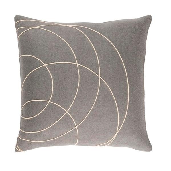 "22"" Moon Gray and Cream Woven Decorative Throw Pillow – Down Filler"
