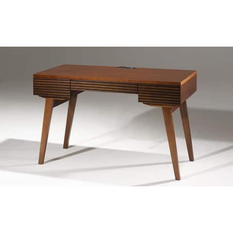 "48"" Mid - Century Modern Writing Desk with a cognac finish over Brazilian cherry veneers; solid Brazilian cherry wood legs"